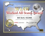 Bill's K2UNK W1AW WAS Certificate.