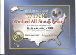 Sid's – K2GG ARRL Worked All States Award