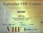 Bill's K2UNK Sept 2014 ARRL Certificate for the VHF contest.